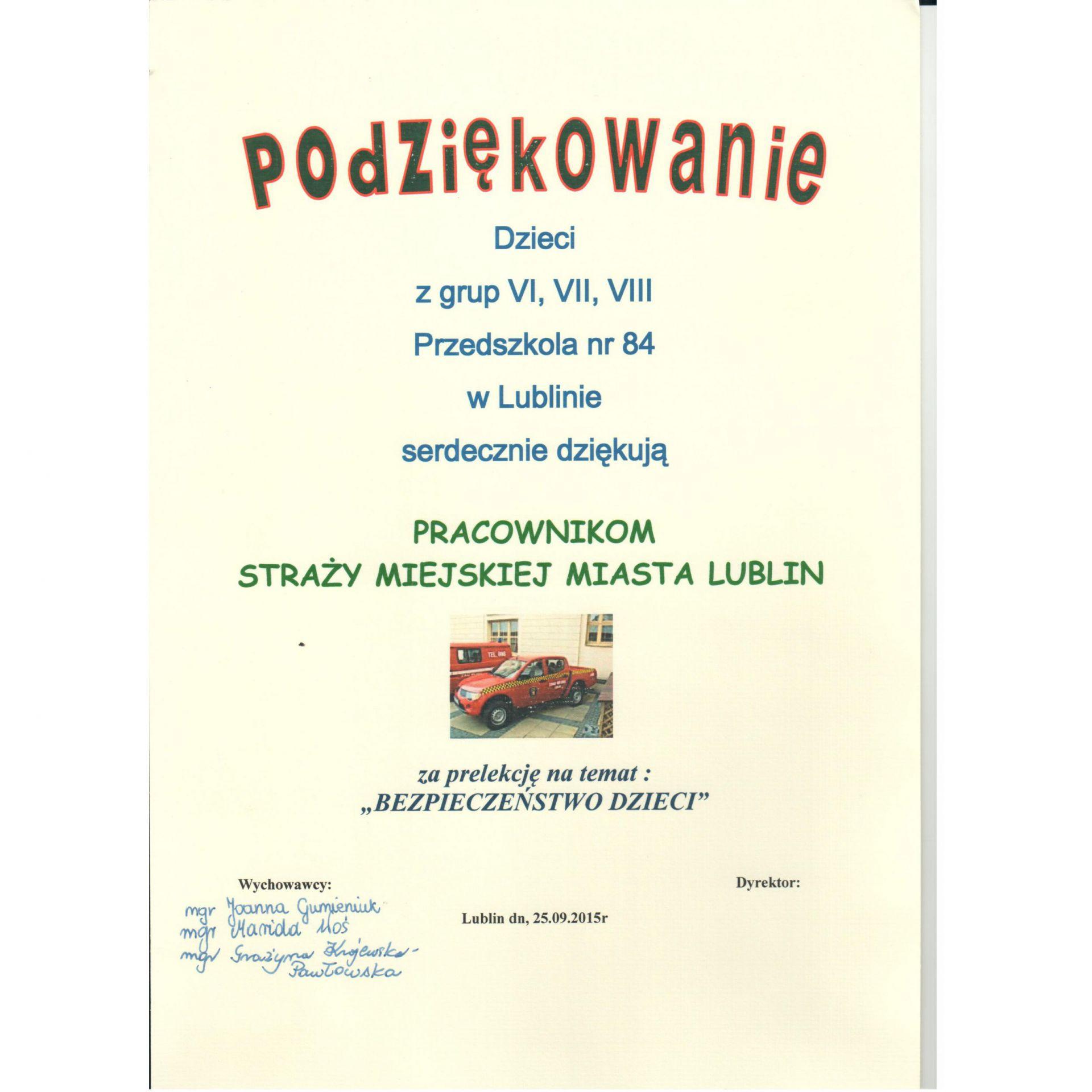 Nowość Podziękowania - Straż Miejska Miasta Lublin - Municipal Police in JC18
