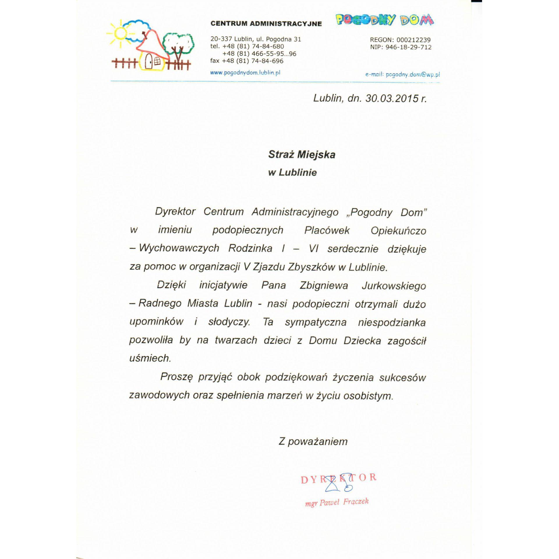 Wspaniały Podziękowania - Straż Miejska Miasta Lublin - Municipal Police in GL58